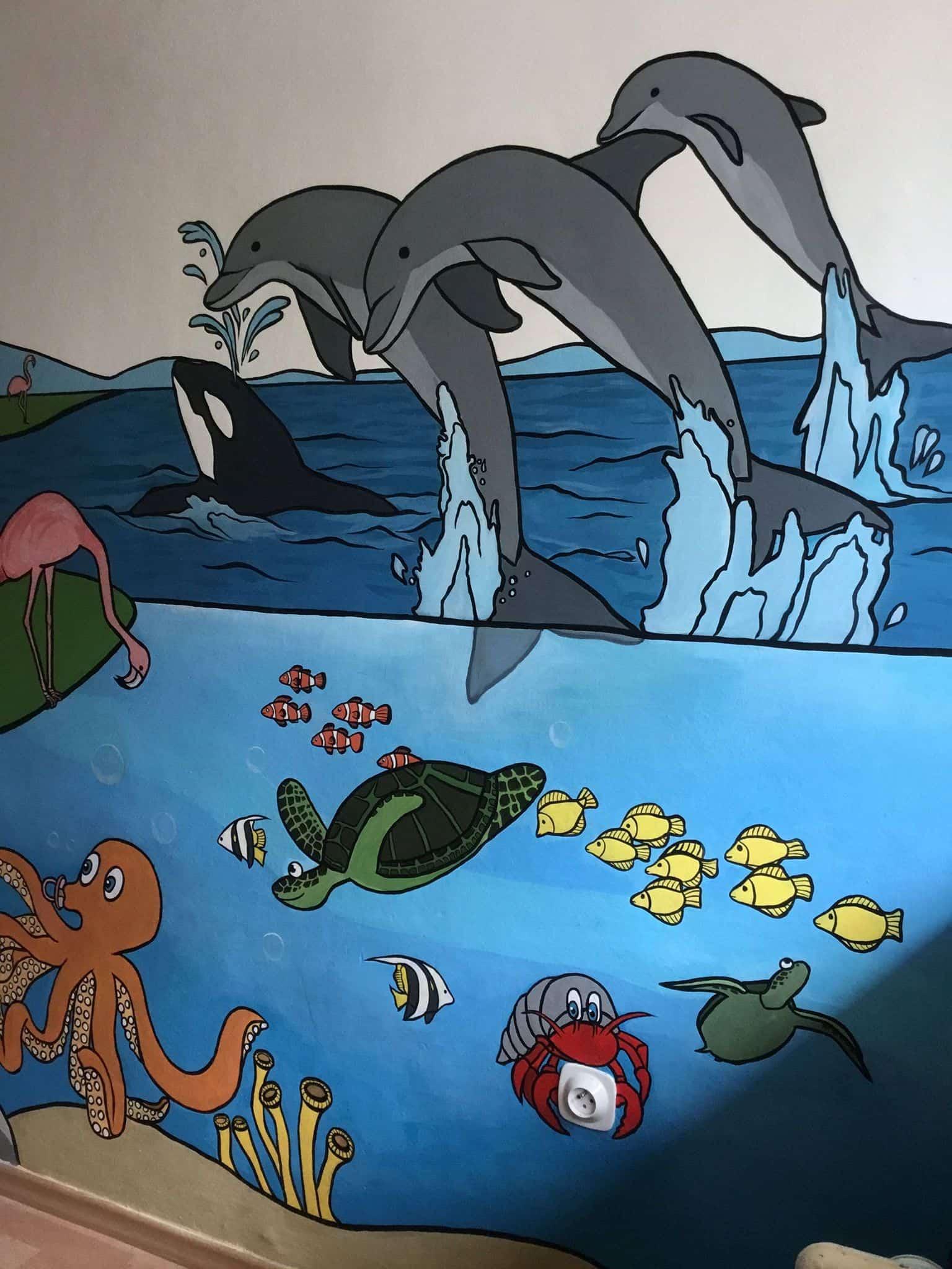 Nástěnná malba - mořský svět