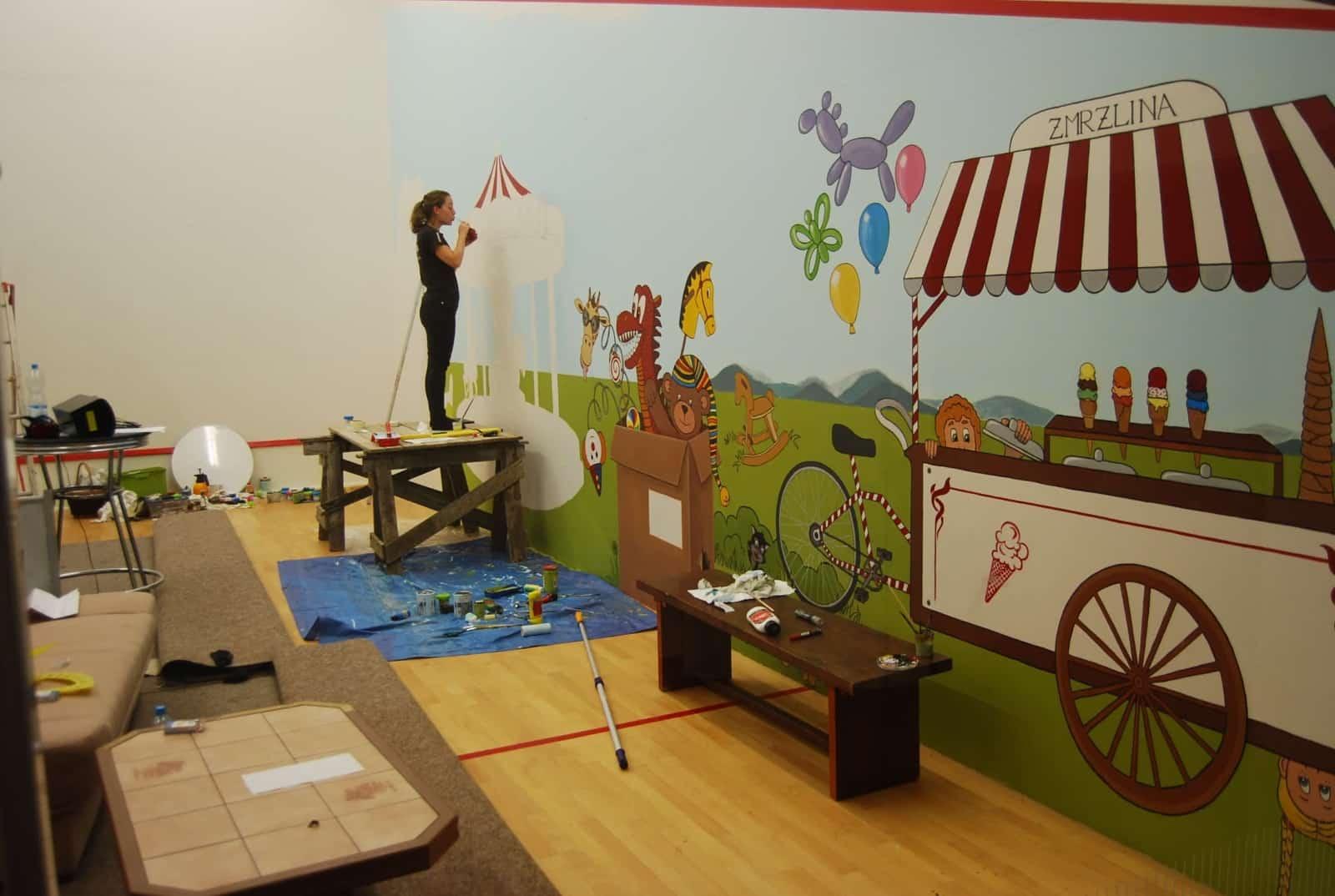 Malba na zeď - dětský koutek